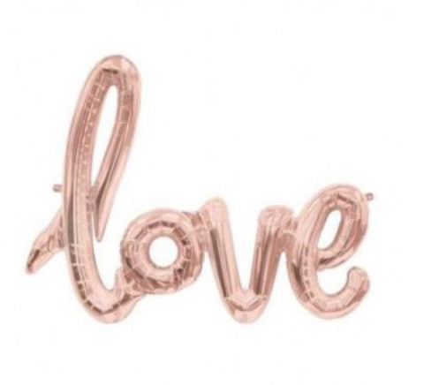 """Love"" Rose Gold Script Balloon"