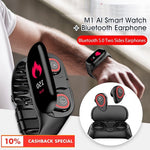 Wireless Bluetooth Earbuds with Fitness Tracker Smartwatch