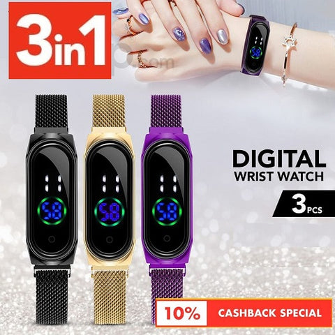 Digital Wrist Watch Touch Screen With Magnetic Mesh Belt - Set of 3
