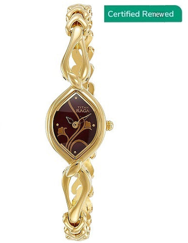 Titan Analog Jewellery Golden Dial Women's Watch - NH2455YM02
