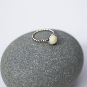 Archive Collection - Yellow Milk Sea Glass Ring