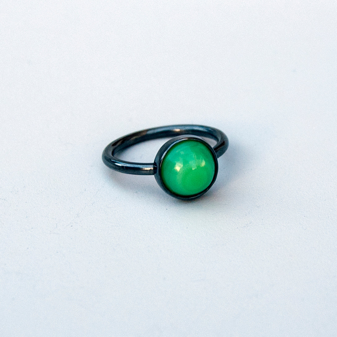 Shore Collection Round Milk Sea Glass Ring