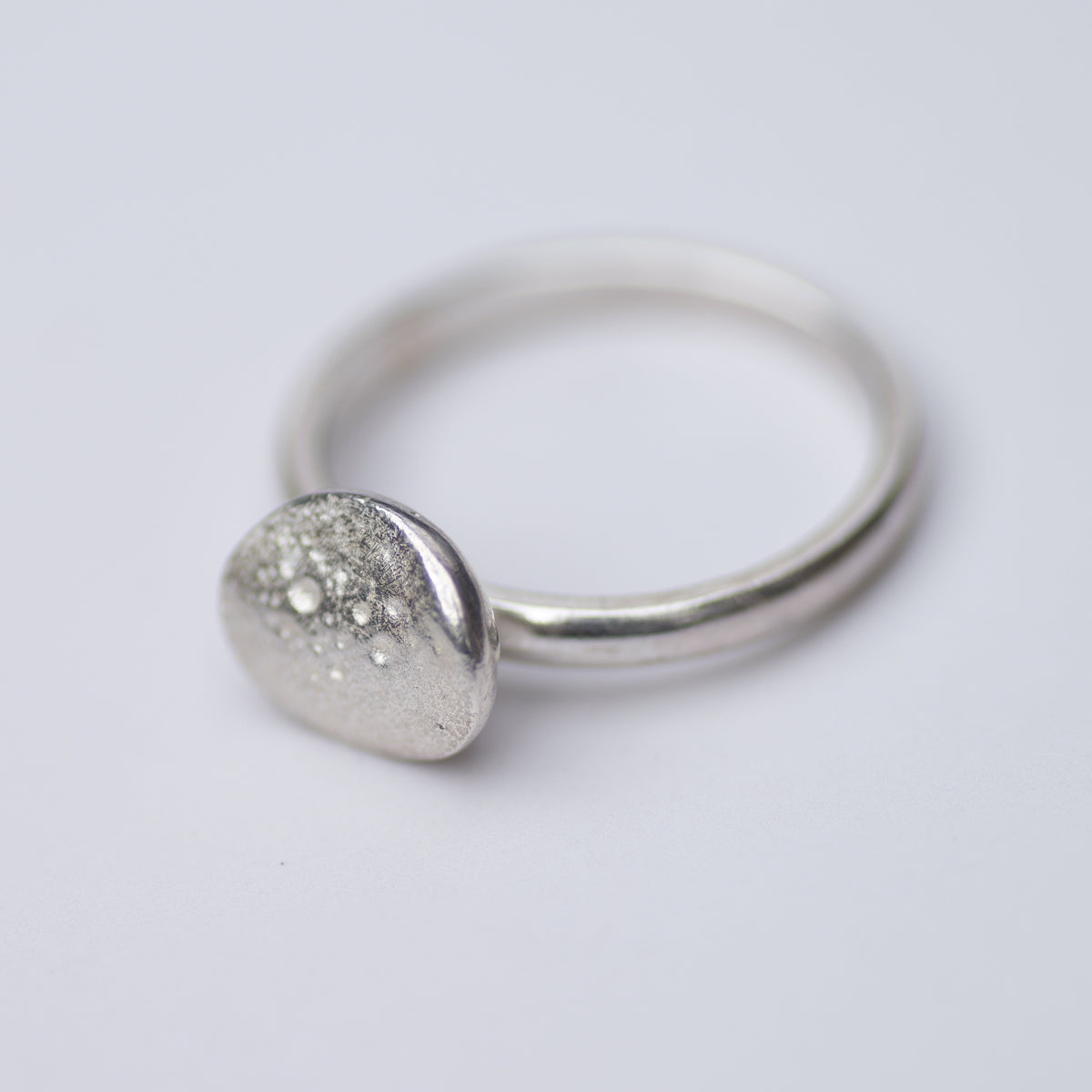 Small Silver Pebble Ring