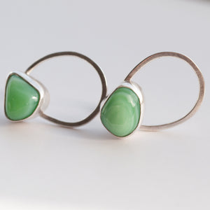 Milk Sea Glass Pebble Link Studs