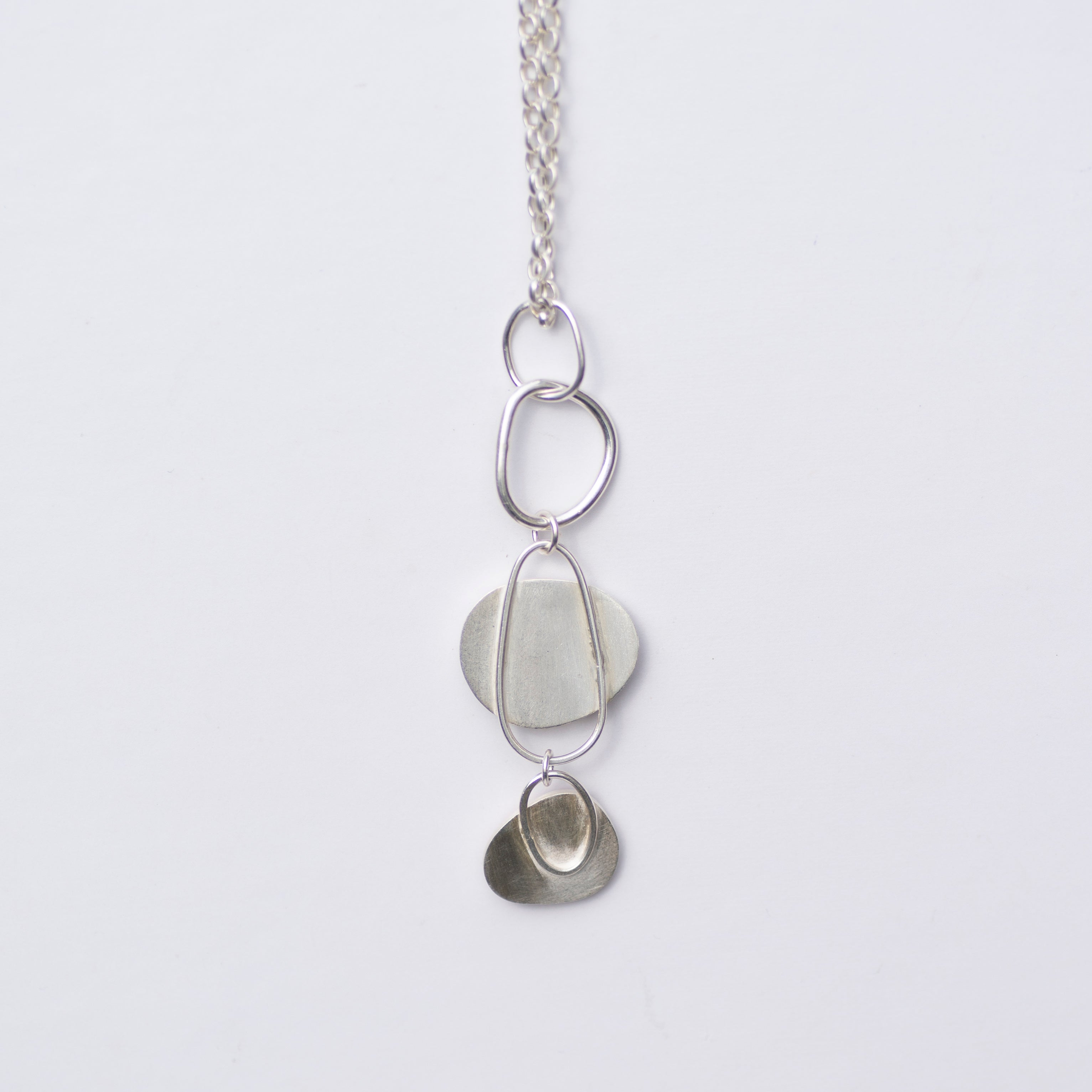 Trio Pebble Milk Sea Glass Long Necklace