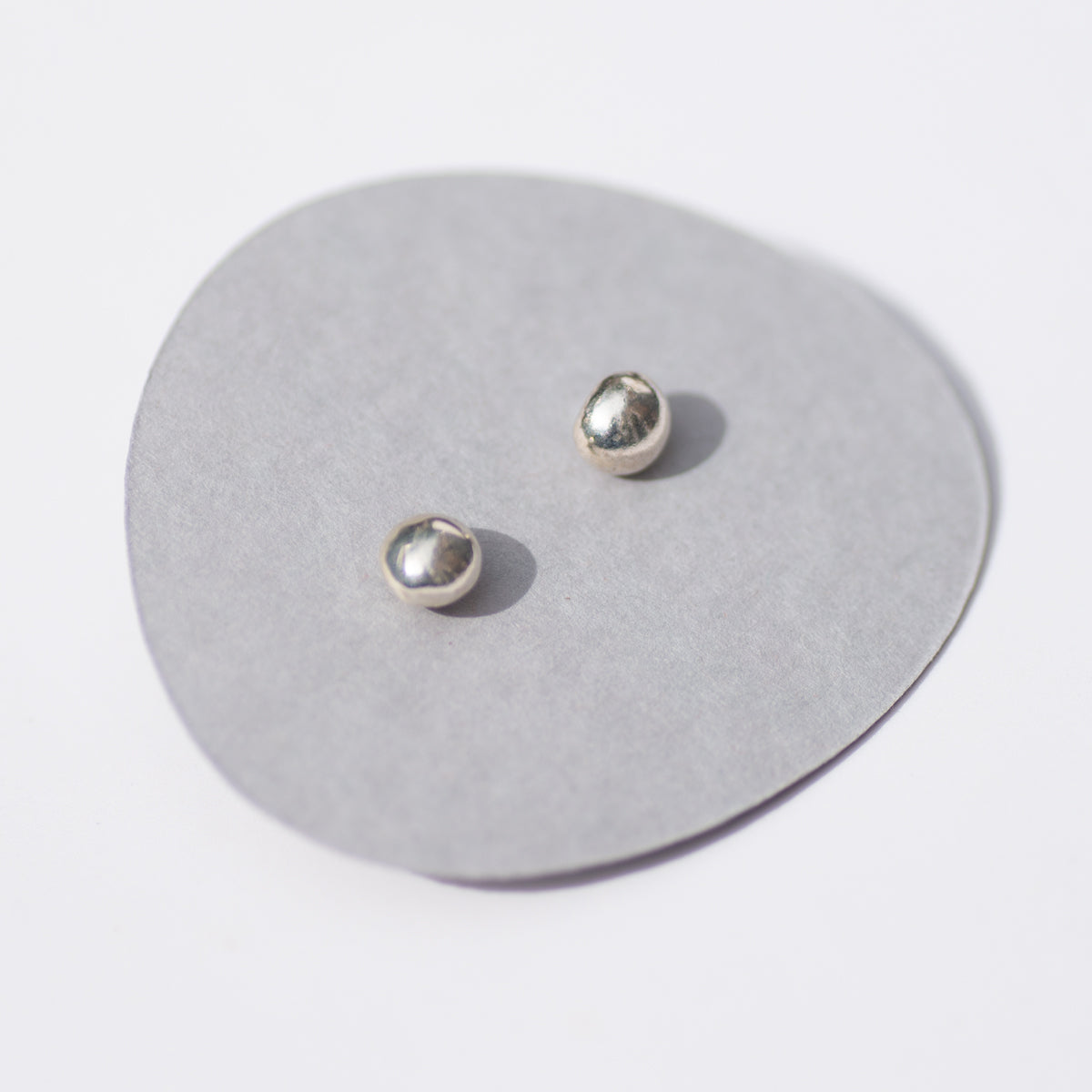 Small Silver Pebble Studs