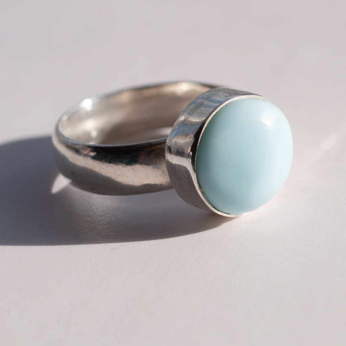 Shore Collection Round Milk Sea Glass Ring - Wide Band