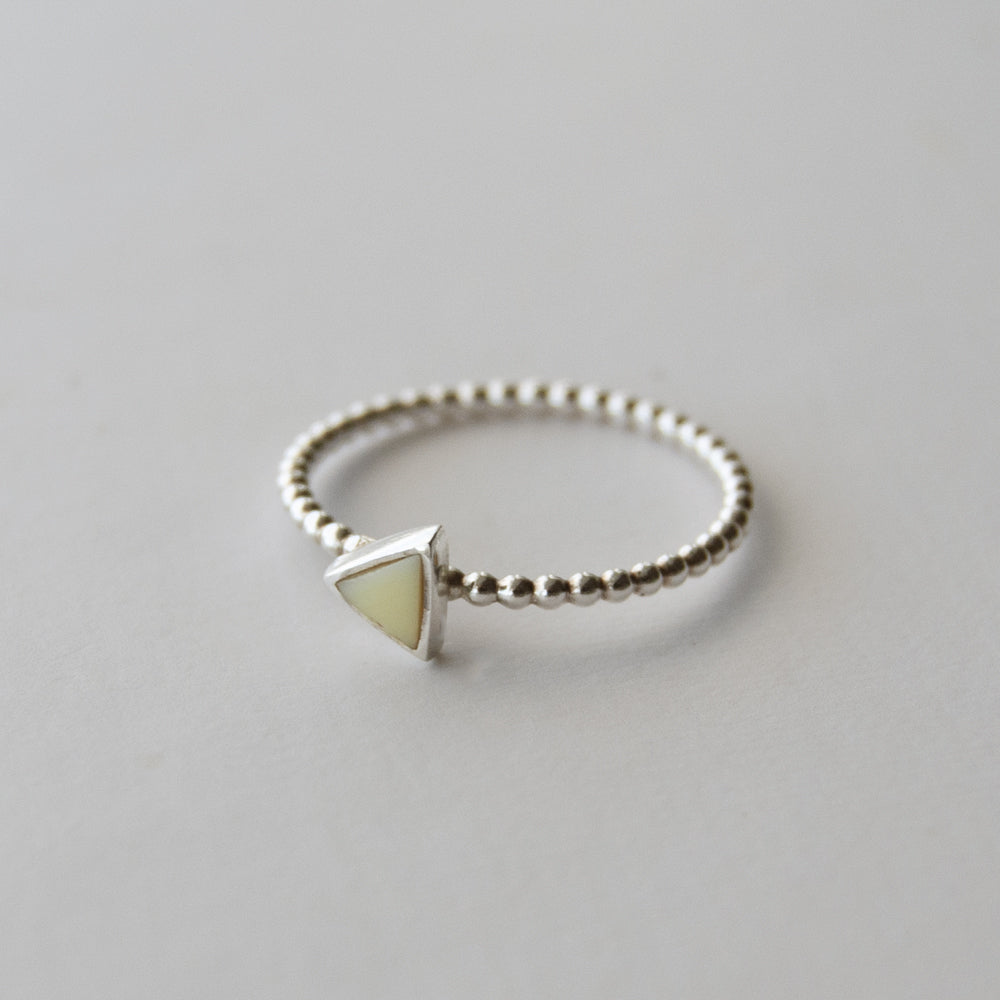 Sterling Silver Triangle Yellow Milk Sea Glass Ring