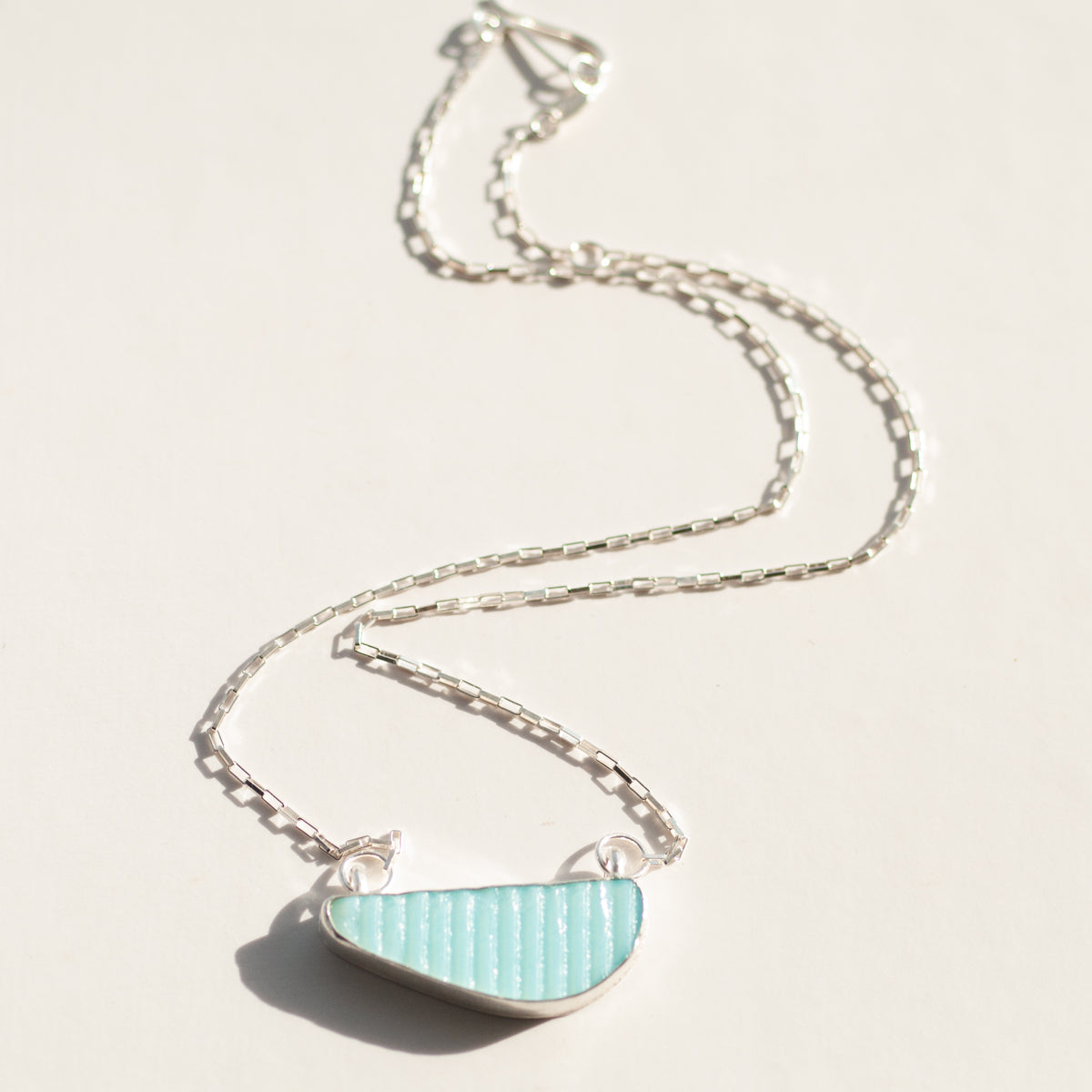 Milk Sea Glass Stripe Necklace