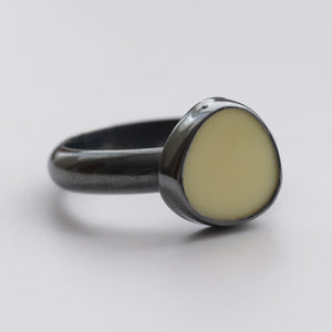 Pebble Shape Yellow Milk Sea Glass Ring