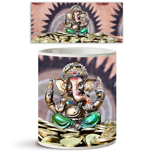 ArtzFolio Lord Ganesh D1 Ceramic Coffee Tea Mug Inside White-Coffee Mugs-AZKIT9726907MUG_L-Image Code 5000369 Vishnu Image Folio Pvt Ltd, IC 5000369, ArtzFolio, Coffee Mugs, Religious, Traditional, Photography, lord, ganesh, d1, ceramic, coffee, tea, mug, inside, white, little, statue, green, trousers, sitting, heap, golden, coins, chess, desk, om, signs, background, coffee mugs with logo, promotional mugs, bulk coffee mug, office mugs, amazonbasics, custom coffee mugs, custom ceramic mugs, 11ounce ceramic