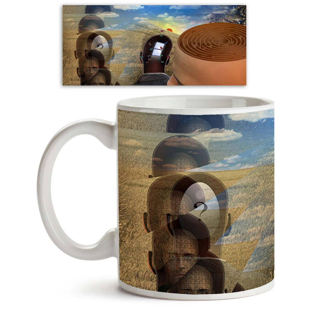 ArtzFolio Strange Scene Ceramic Coffee Tea Mug Inside White-Coffee Mugs-AZKIT10056546MUG_L-Image Code 5000414 Vishnu Image Folio Pvt Ltd, IC 5000414, ArtzFolio, Coffee Mugs, Abstract, Surrealism, Digital Art, strange, scene, ceramic, coffee, tea, mug, inside, white, mans, head, reveals, maze, coffee mugs with logo, promotional mugs, bulk coffee mug, office mugs, amazonbasics, custom coffee mugs, custom ceramic mugs, 11ounce ceramic coffee mug, coffee cup gift, tea mug, promotional coffee mugs, custom printe