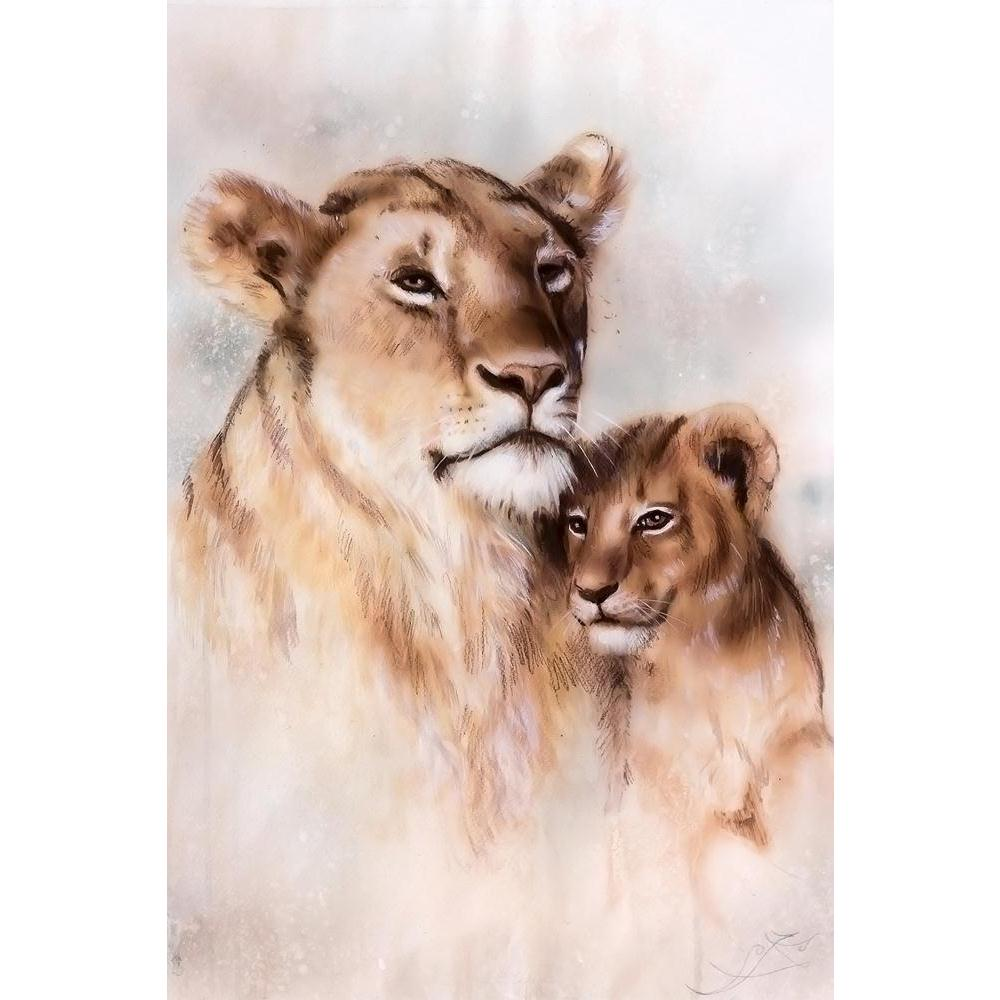 ArtzFolio Lion Mother & Her Baby Cub Unframed Paper Poster-Paper Posters Unframed-AZART36550565POS_UN_L-Image Code 5004283 Vishnu Image Folio Pvt Ltd, IC 5004283, ArtzFolio, Paper Posters Unframed, Animals, Fine Art Reprint, lion, mother, her, baby, cub, unframed, paper, poster, wall, large, size, for, living, room, home, decoration, big, framed, decor, posters, pitaara, box, modern, art, with, frame, bedroom, amazonbasics, door, drawing, small, decorative, office, reception, multiple, friends, images, repr