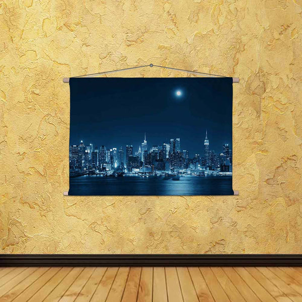 ArtzFolio Moon Rise Over Midtown Manhattan, USA Fabric Painting Tapestry Scroll Art Hanging-Scroll Art-AZART37849865TAP_L-Image Code 5004427 Vishnu Image Folio Pvt Ltd, IC 5004427, ArtzFolio, Scroll Art, Places, Photography, moon, rise, over, midtown, manhattan, usa, canvas, fabric, painting, tapestry, scroll, art, hanging, city, skyline, night, new, york, architecture, urban, building, landmark, cityscape, skyscraper, light, nyc, river, reflection, full, america, united, ny, twilight, travel, american, sta