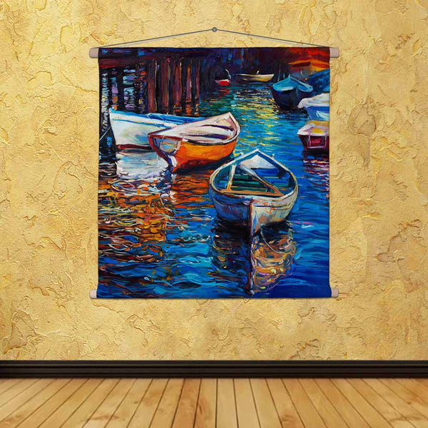 ArtzFolio Artwork Of Boats & Jetty D9 Fabric Painting Tapestry Scroll Art Hanging-Scroll Art-AZART37919398TAP_L-Image Code 5004431 Vishnu Image Folio Pvt Ltd, IC 5004431, ArtzFolio, Scroll Art, Abstract, Landscapes, Fine Art Reprint, artwork, of, boats, jetty, d9, canvas, fabric, painting, tapestry, scroll, art, hanging, original, oil, jettypier, canvas.rich, golden, sunset, ocean.modern, impressionism, acrylic, artist, artistic, backdrop, background, beach, blue, boat, bright, color, composition, creativit