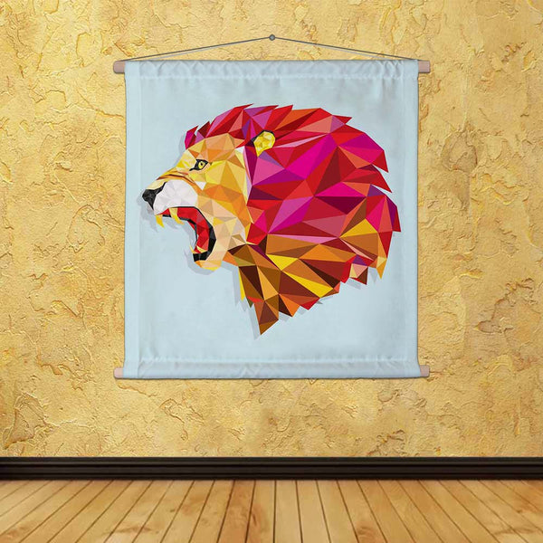 ArtzFolio Angry Lion With Geometric Pattern Fabric Painting Tapestry Scroll Art Hanging-Scroll Art-AZART38199487TAP_L-Image Code 5004462 Vishnu Image Folio Pvt Ltd, IC 5004462, ArtzFolio, Scroll Art, Animals, Kids, Digital Art, angry, lion, with, geometric, pattern, canvas, fabric, painting, tapestry, scroll, art, hanging, vector, head, animal, zoo, tattoo, sign, africa, safari, isolated, mammal, power, yellow, symbol, orange, graphic, illustration, icon, dimond, strength, high, face, color, cat, colorful,