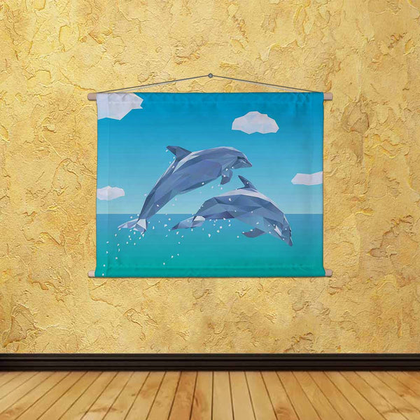 ArtzFolio Low Poly Dolphins Jumping Fabric Painting Tapestry Scroll Art Hanging-Scroll Art-AZART39160311TAP_L-Image Code 5004595 Vishnu Image Folio Pvt Ltd, IC 5004595, ArtzFolio, Scroll Art, Animals, Kids, Digital Art, low, poly, dolphins, jumping, canvas, fabric, painting, tapestry, scroll, art, hanging, two, out, ocean, dolphin, polygon, mammal, animal, sea, nature, sky, tropical, endangered, species, life, marine, polygonal, tapestries, room tapestry, hanging tapestry, huge tapestry, amazonbasics, tapes