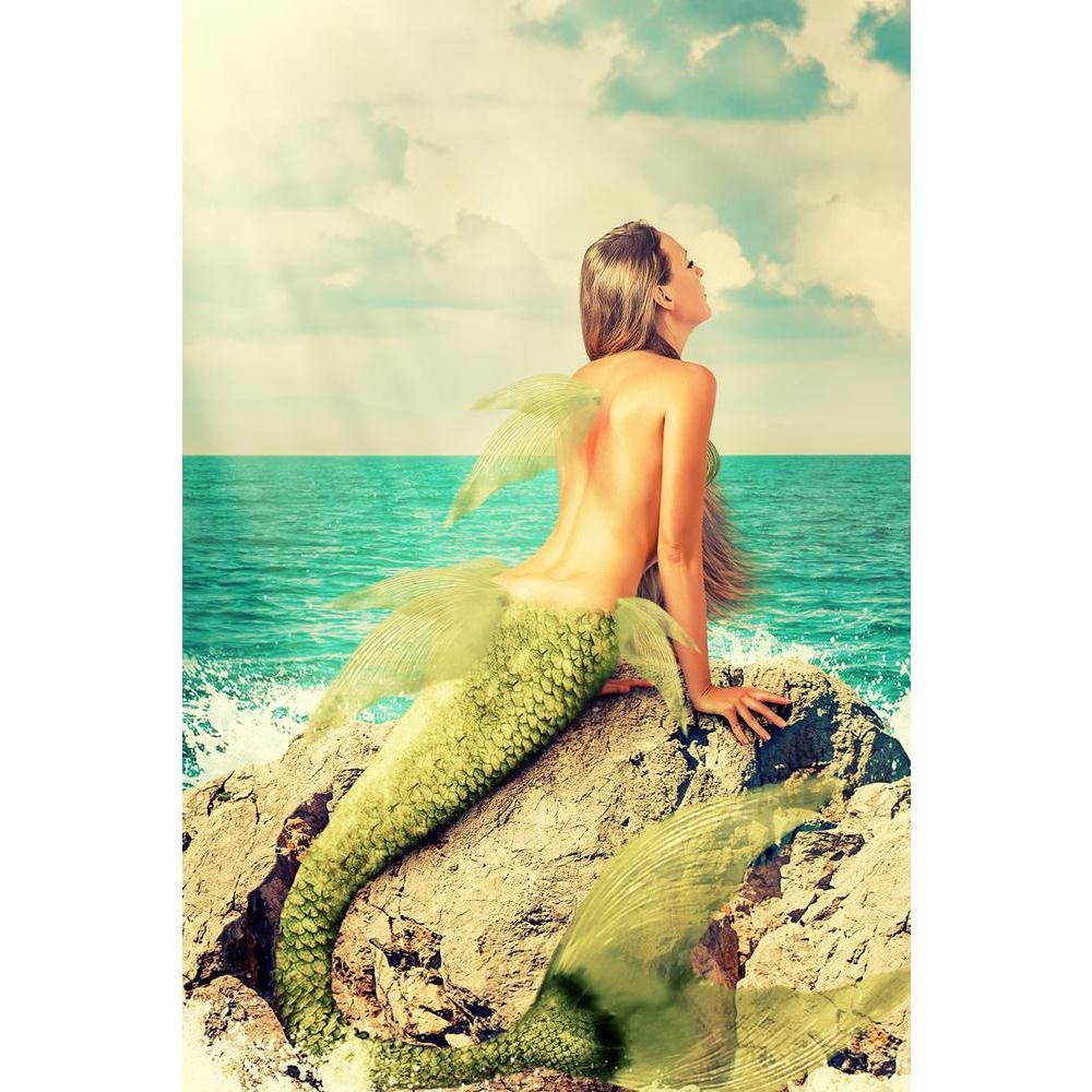 ArtzFolio Mermaid With Fish Tail Sitting On Rocks Unframed Paper Poster-Paper Posters Unframed-AZART40818223POS_UN_L-Image Code 5004734 Vishnu Image Folio Pvt Ltd, IC 5004734, ArtzFolio, Paper Posters Unframed, Fantasy, Figurative, Photography, mermaid, with, fish, tail, sitting, on, rocks, unframed, paper, poster, wall, large, size, for, living, room, home, decoration, big, framed, decor, posters, pitaara, box, modern, art, frame, bedroom, amazonbasics, door, drawing, small, decorative, office, reception,