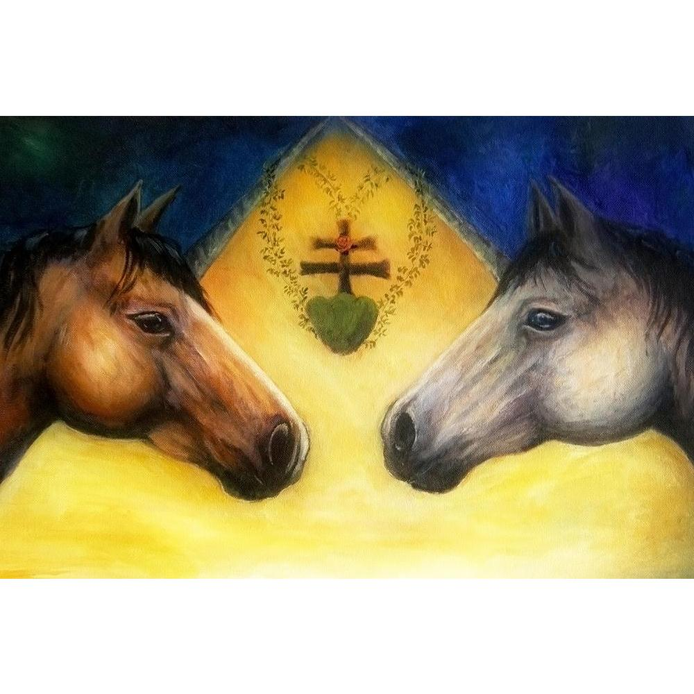 ArtzFolio Two Horse Heads Unframed Paper Poster-Paper Posters Unframed-AZART40818426POS_UN_L-Image Code 5004739 Vishnu Image Folio Pvt Ltd, IC 5004739, ArtzFolio, Paper Posters Unframed, Animals, Fine Art Reprint, two, horse, heads, unframed, paper, poster, wall, large, size, for, living, room, home, decoration, big, framed, decor, posters, pitaara, box, modern, art, with, frame, bedroom, amazonbasics, door, drawing, small, decorative, office, reception, multiple, friends, images, reprints, reprint, kids, b