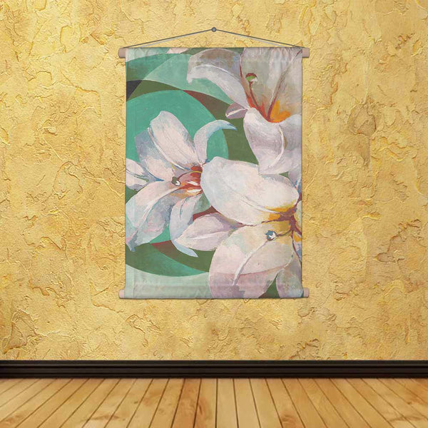 ArtzFolio Pretty White Lily Flower Fabric Painting Tapestry Scroll Art Hanging-Scroll Art-AZART41988848TAP_L-Image Code 5004904 Vishnu Image Folio Pvt Ltd, IC 5004904, ArtzFolio, Scroll Art, Floral, Fine Art Reprint, pretty, white, lily, flower, canvas, fabric, painting, tapestry, scroll, art, hanging, green, background, nature, blossom, beautiful, petal, design, leaf, bloom, plant, spring, wallpaper, summer, bouquet, drawing, natural, garden, color, decoration, decorative, hand, style, ornate, flora, bloom