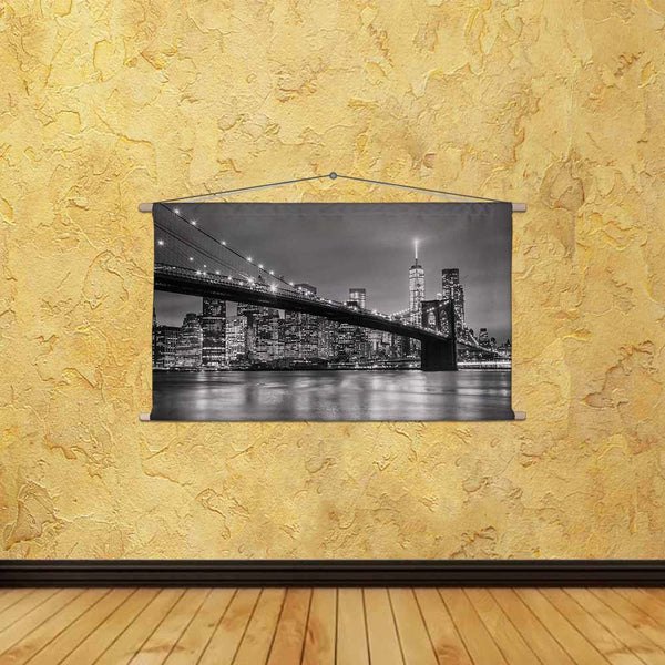 ArtzFolio Brooklyn Bridge & New York Manhattan Downtown, USA Fabric Painting Tapestry Scroll Art Hanging-Scroll Art-AZART47504979TAP_L-Image Code 5005466 Vishnu Image Folio Pvt Ltd, IC 5005466, ArtzFolio, Scroll Art, Places, Photography, brooklyn, bridge, new, york, manhattan, downtown, usa, canvas, fabric, painting, tapestry, scroll, art, hanging, city, skyline, dusk, skyscrapers, illuminated, east, river, panorama, copy, space, black, white, image, america, skyscraper, united, states, of, cityscape, archi