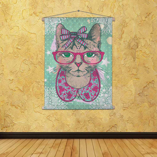 ArtzFolio Hipster Cat Woman Dressed Fabric Painting Tapestry Scroll Art Hanging-Scroll Art-AZART47545881TAP_L-Image Code 5005471 Vishnu Image Folio Pvt Ltd, IC 5005471, ArtzFolio, Scroll Art, Animals, Kids, Digital Art, hipster, cat, woman, dressed, canvas, fabric, painting, tapestry, scroll, art, hanging, fashion, vintage, graphic, card, collarette, bow, glasses, against, green, polka, dots, backdrop, hand, drawn, vector, illustration, tapestries, room tapestry, hanging tapestry, huge tapestry, amazonbasic