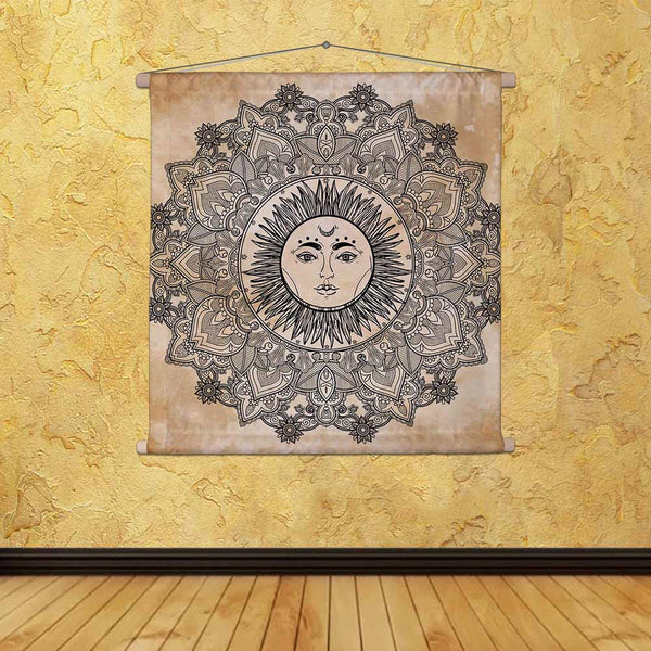 ArtzFolio Sun Mandala Fabric Painting Tapestry Scroll Art Hanging-Scroll Art-AZART48003724TAP_L-Image Code 5005514 Vishnu Image Folio Pvt Ltd, IC 5005514, ArtzFolio, Scroll Art, Religious, Traditional, Digital Art, sun, mandala, canvas, fabric, painting, tapestry, scroll, art, hanging, round, ornament, pattern, vintage, decorative, vector, elements, isolated, hand, drawn, background, tapestries, room tapestry, hanging tapestry, huge tapestry, amazonbasics, tapestry cloth, fabric wall hanging, unique tapestr