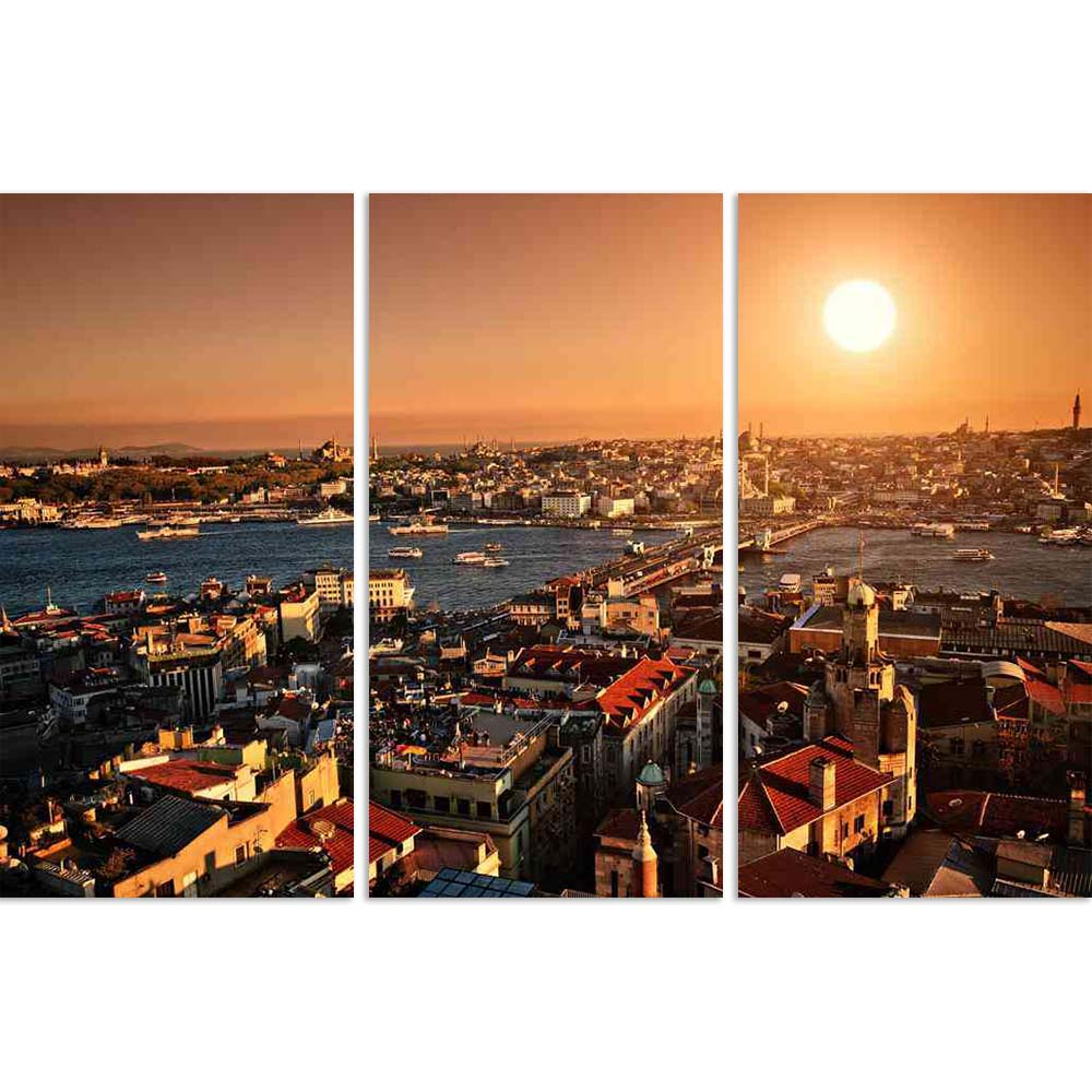 ArtzFolio Setting Sun Over Istanbul Panorama Split Art Painting Panel on Sunboard-Split Art Panels-AZ5005715SPL_FR_RF_R-0-Image Code 5005715 Vishnu Image Folio Pvt Ltd, IC 5005715, ArtzFolio, Split Art Panels, Places, Photography, setting, sun, over, istanbul, panorama, split, art, painting, panel, on, sunboard, framed, canvas, print, wall, for, living, room, with, frame, poster, pitaara, box, large, size, drawing, big, office, reception, of, kids, designer, decorative, amazonbasics, reprint, small, bedroom