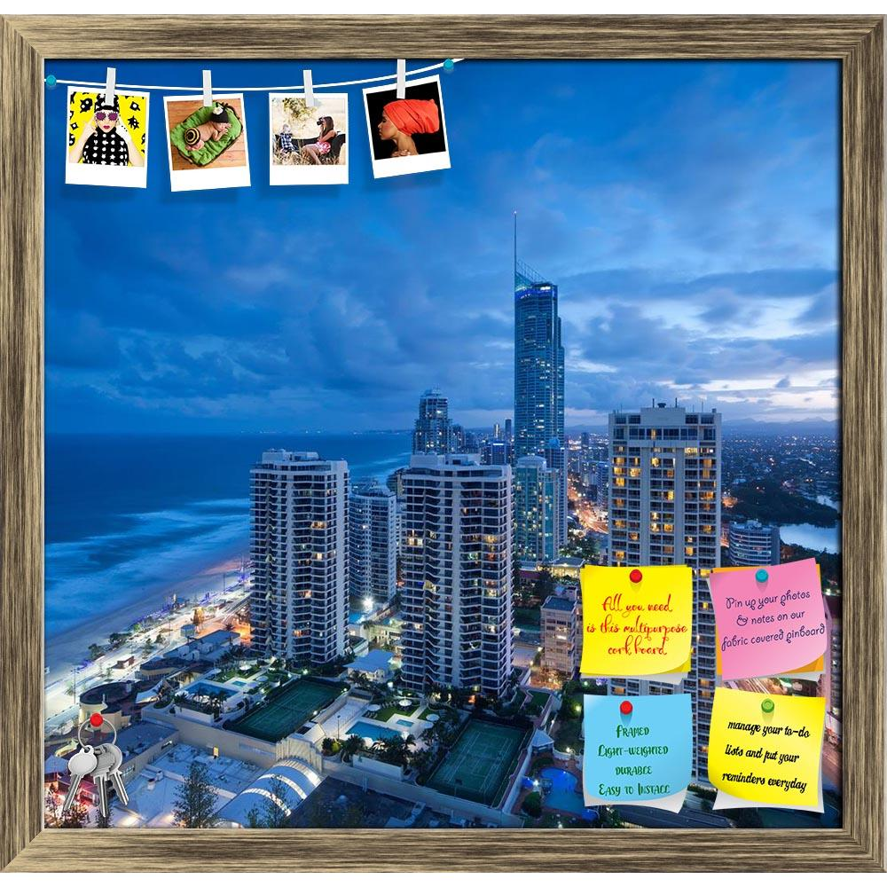 ArtzFolio Modern City At Dusk, Gold Coast, Australia Printed Bulletin Board Notice Pin Board Soft Board | Framed-Bulletin Boards Framed-AZ5005736BLB_FR_RF_R-0-Image Code 5005736 Vishnu Image Folio Pvt Ltd, IC 5005736, ArtzFolio, Bulletin Boards Framed, Places, Photography, modern, city, at, dusk, gold, coast, australia, printed, bulletin, board, notice, pin, soft, framed, building, landmark, night, twilight, light, lamp, downtown, sky, skyline, view, urban, skyscraper, architecture, aerial, cityscape, metro