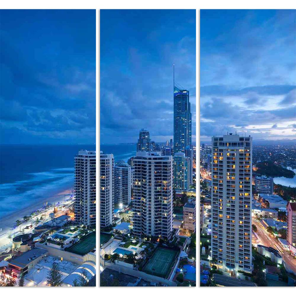ArtzFolio Modern City At Dusk, Gold Coast, Australia Split Art Painting Panel on Sunboard-Split Art Panels-AZ5005736SPL_FR_RF_R-0-Image Code 5005736 Vishnu Image Folio Pvt Ltd, IC 5005736, ArtzFolio, Split Art Panels, Places, Photography, modern, city, at, dusk, gold, coast, australia, split, art, painting, panel, on, sunboard, framed, canvas, print, wall, for, living, room, with, frame, poster, pitaara, box, large, size, drawing, big, office, reception, of, kids, designer, decorative, amazonbasics, reprint