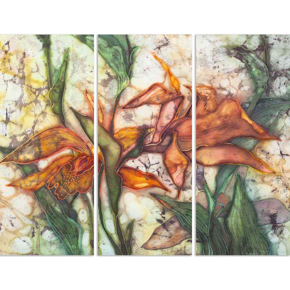 ArtzFolio Image of Orchid, Batik On Silk Split Art Painting Panel on Sunboard-Split Art Panels-AZ5005745SPL_FR_RF_R-0-Image Code 5005745 Vishnu Image Folio Pvt Ltd, IC 5005745, ArtzFolio, Split Art Panels, Abstract, Floral, Fine Art Reprint, image, of, orchid, batik, on, silk, split, art, painting, panel, sunboard, framed, canvas, print, wall, for, living, room, with, frame, poster, pitaara, box, large, size, drawing, big, office, reception, photography, kids, designer, decorative, amazonbasics, reprint, sm