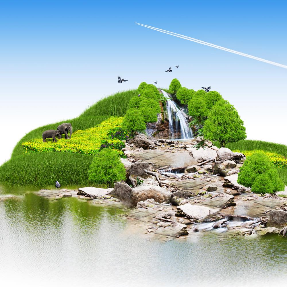 ArtzFolio Island With Vegetation A Waterfall Peel & Stick Vinyl Wall Sticker-Laminated Wall Stickers-AZ5005824ART_UN_RF_R-0-Image Code 5005824 Vishnu Image Folio Pvt Ltd, IC 5005824, ArtzFolio, Laminated Wall Stickers, Conceptual, Landscapes, Digital Art, island, with, vegetation, a, waterfall, peel, stick, vinyl, wall, sticker, for, bedroom, large, size, decal, drawing, room, living, decorative, big, waterproof, home, office, reception, pitaara, box, designer, prints, kids, pvc, amazonbasics, washable, abs