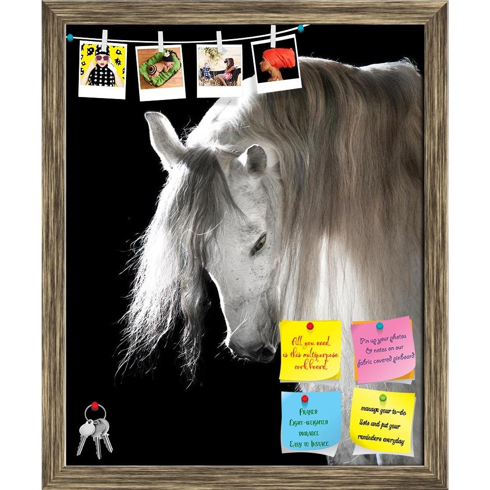 ArtzFolio White Andalusian Horse On The Black Background Printed Bulletin Board Notice Pin Board Soft Board | Framed-Bulletin Boards Framed-AZ5005834BLB_FR_RF_R-0-Image Code 5005834 Vishnu Image Folio Pvt Ltd, IC 5005834, ArtzFolio, Bulletin Boards Framed, Animals, Photography, white, andalusian, horse, on, the, black, background, printed, bulletin, board, notice, pin, soft, framed, animal, beautiful, breed, dark, equestrian, equine, grey, hair, mane, mare, portrait, spanish, stallion, studio, thoroughbred,