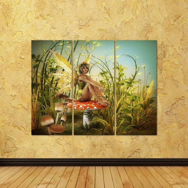 ArtzFolio A Little Fairy Sitting On A Fly Agaric Split Art Painting Panel on Sunboard-Split Art Panels-AZ5005838SPL_FR_RF_R-0-Image Code 5005838 Vishnu Image Folio Pvt Ltd, IC 5005838, ArtzFolio, Split Art Panels, Fantasy, Figurative, Photography, a, little, fairy, sitting, on, fly, agaric, split, art, painting, panel, sunboard, framed, canvas, print, wall, for, living, room, with, frame, poster, pitaara, box, large, size, drawing, big, office, reception, of, kids, designer, decorative, amazonbasics, reprin