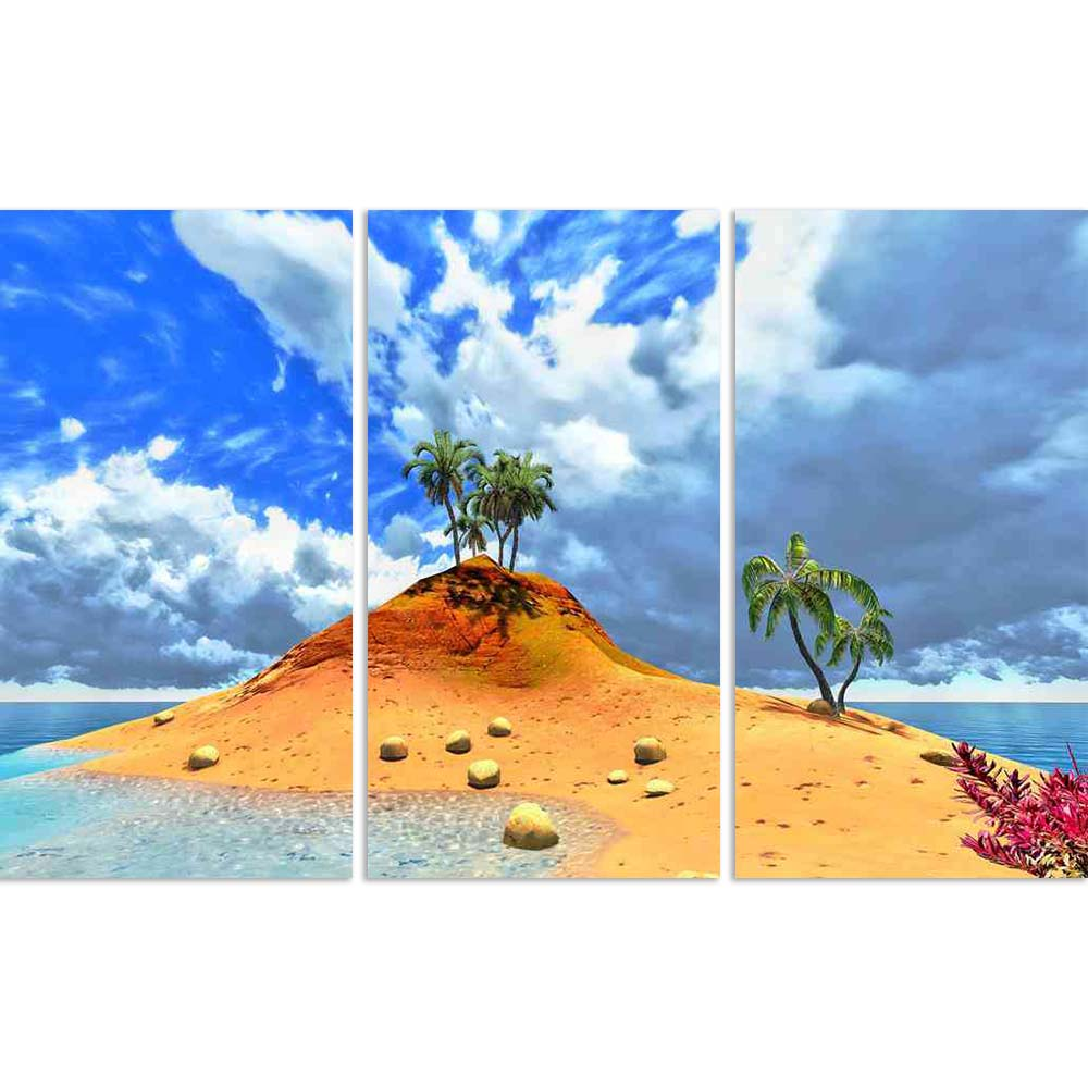 ArtzFolio Tropical Island Palms Split Art Painting Panel on Sunboard-Split Art Panels-AZ5005867SPL_FR_RF_R-0-Image Code 5005867 Vishnu Image Folio Pvt Ltd, IC 5005867, ArtzFolio, Split Art Panels, Landscapes, Photography, tropical, island, palms, split, art, painting, panel, on, sunboard, framed, canvas, print, wall, for, living, room, with, frame, poster, pitaara, box, large, size, drawing, big, office, reception, of, kids, designer, decorative, amazonbasics, reprint, small, bedroom, scenery, aqua, azure,