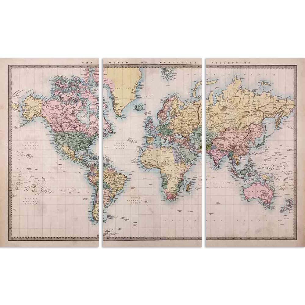 ArtzFolio World Map on Mercators Projection Circa 1860 Split Art Painting Panel on Sunboard-Split Art Panels-AZ5006019SPL_FR_RF_R-0-Image Code 5006019 Vishnu Image Folio Pvt Ltd, IC 5006019, ArtzFolio, Split Art Panels, Places, Vintage, Photography, world, map, on, mercators, projection, circa, 1860, split, art, painting, panel, sunboard, framed, canvas, print, wall, for, living, room, with, frame, poster, pitaara, box, large, size, drawing, big, office, reception, of, kids, designer, decorative, amazonbasi