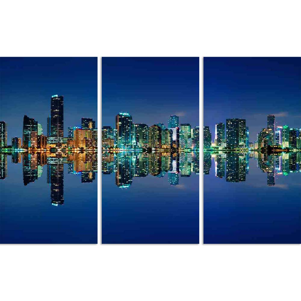 ArtzFolio Miami Skyline At Night, Florida, USA Split Art Painting Panel on Sunboard-Split Art Panels-AZ5006084SPL_FR_RF_R-0-Image Code 5006084 Vishnu Image Folio Pvt Ltd, IC 5006084, ArtzFolio, Split Art Panels, Landscapes, Places, Photography, miami, skyline, at, night, florida, usa, split, art, painting, panel, on, sunboard, framed, canvas, print, wall, for, living, room, with, frame, poster, pitaara, box, large, size, drawing, big, office, reception, of, kids, designer, decorative, amazonbasics, reprint,