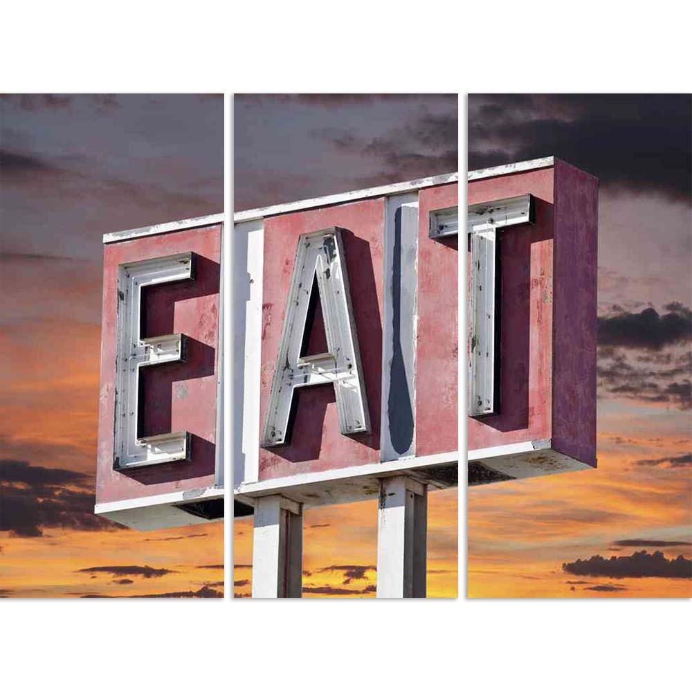 ArtzFolio Retro Faded Eat Sign With Sunset Sky Split Art Painting Panel on Sunboard-Split Art Panels-AZ5006106SPL_FR_RF_R-0-Image Code 5006106 Vishnu Image Folio Pvt Ltd, IC 5006106, ArtzFolio, Split Art Panels, Food & Beverage, Places, Photography, retro, faded, eat, sign, with, sunset, sky, split, art, painting, panel, on, sunboard, framed, canvas, print, wall, for, living, room, frame, poster, pitaara, box, large, size, drawing, big, office, reception, of, kids, designer, decorative, amazonbasics, reprin