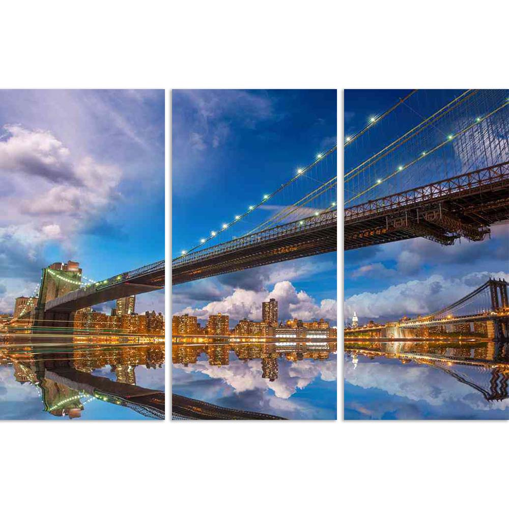 ArtzFolio Brooklyn Manhattan Bridge Reflection, New York USA Split Art Painting Panel on Sunboard-Split Art Panels-AZ5006122SPL_FR_RF_R-0-Image Code 5006122 Vishnu Image Folio Pvt Ltd, IC 5006122, ArtzFolio, Split Art Panels, Landscapes, Places, Photography, brooklyn, manhattan, bridge, reflection, new, york, usa, split, art, painting, panel, on, sunboard, framed, canvas, print, wall, for, living, room, with, frame, poster, pitaara, box, large, size, drawing, big, office, reception, of, kids, designer, deco