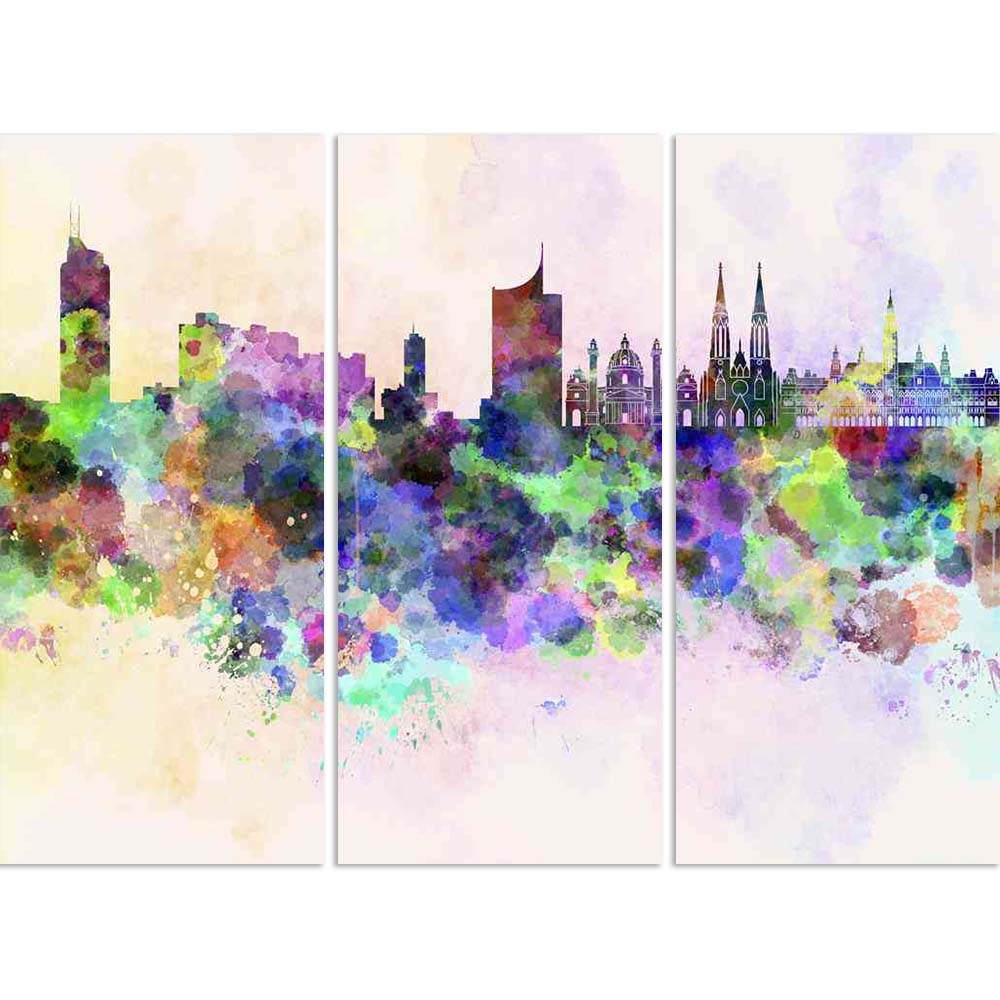 ArtzFolio Vienna, Capital of Austria, Skyline In Watercolor Split Art Painting Panel on Sunboard-Split Art Panels-AZ5006249SPL_FR_RF_R-0-Image Code 5006249 Vishnu Image Folio Pvt Ltd, IC 5006249, ArtzFolio, Split Art Panels, Places, Fine Art Reprint, vienna, capital, of, austria, skyline, in, watercolor, split, art, painting, panel, on, sunboard, framed, canvas, print, wall, for, living, room, with, frame, poster, pitaara, box, large, size, drawing, big, office, reception, photography, kids, designer, decor