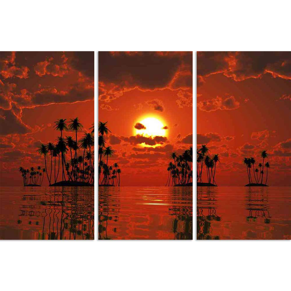 ArtzFolio Coconut Palms At Orange Sunset Over Tropic Sea Split Art Painting Panel on Sunboard-Split Art Panels-AZ5006328SPL_FR_RF_R-0-Image Code 5006328 Vishnu Image Folio Pvt Ltd, IC 5006328, ArtzFolio, Split Art Panels, Landscapes, Photography, coconut, palms, at, orange, sunset, over, tropic, sea, split, art, painting, panel, on, sunboard, framed, canvas, print, wall, for, living, room, with, frame, poster, pitaara, box, large, size, drawing, big, office, reception, of, kids, designer, decorative, amazon