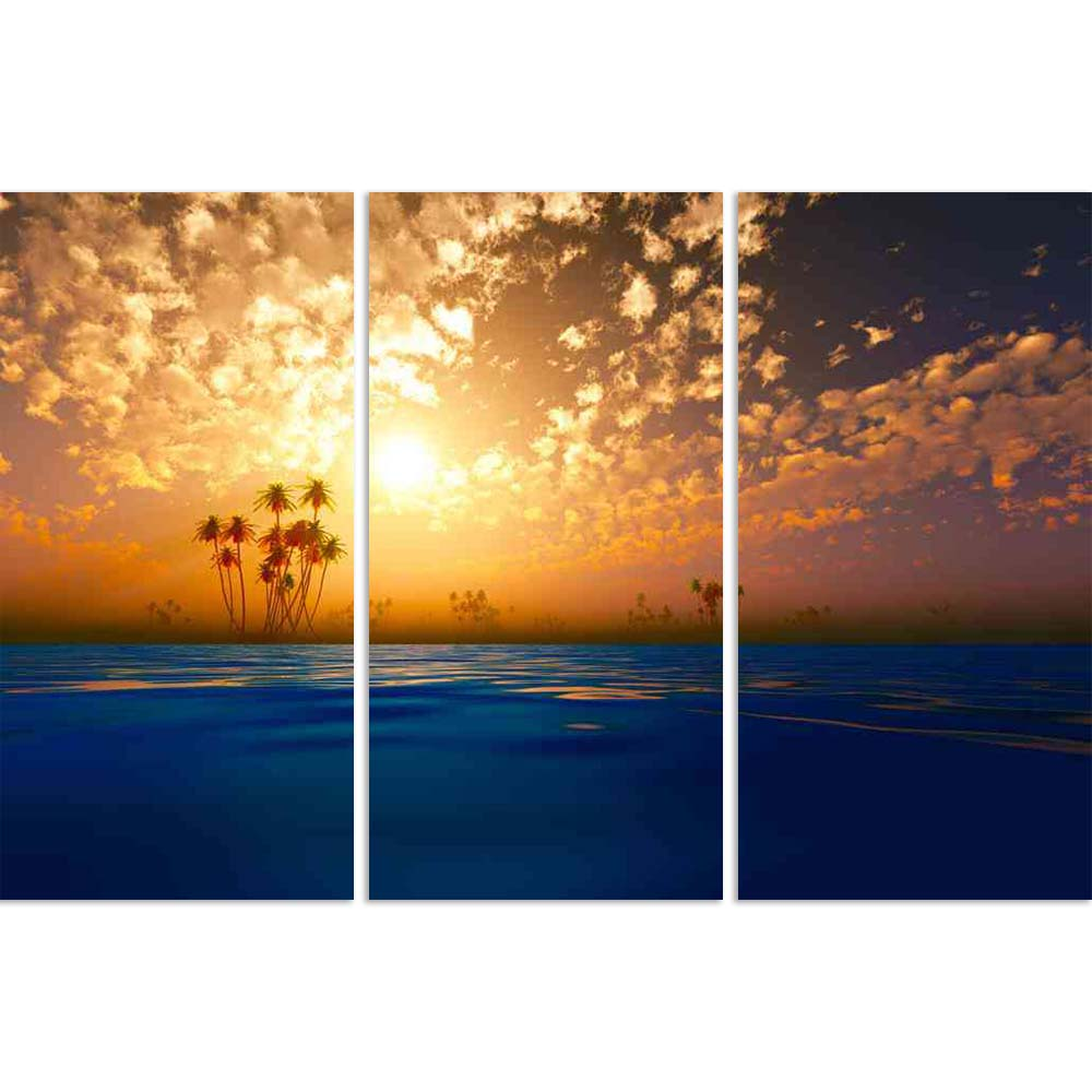 ArtzFolio Gold Sunset In Clouds Over Coconut Tropic Islands Split Art Painting Panel on Sunboard-Split Art Panels-AZ5006329SPL_FR_RF_R-0-Image Code 5006329 Vishnu Image Folio Pvt Ltd, IC 5006329, ArtzFolio, Split Art Panels, Landscapes, Photography, gold, sunset, in, clouds, over, coconut, tropic, islands, split, art, painting, panel, on, sunboard, framed, canvas, print, wall, for, living, room, with, frame, poster, pitaara, box, large, size, drawing, big, office, reception, of, kids, designer, decorative,