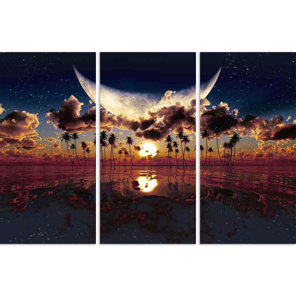 ArtzFolio Large Moon Over Dramatic Sunset Split Art Painting Panel on Sunboard-Split Art Panels-AZ5006354SPL_FR_RF_R-0-Image Code 5006354 Vishnu Image Folio Pvt Ltd, IC 5006354, ArtzFolio, Split Art Panels, Landscapes, Digital Art, large, moon, over, dramatic, sunset, split, art, painting, panel, on, sunboard, framed, canvas, print, wall, for, living, room, with, frame, poster, pitaara, box, size, drawing, big, office, reception, photography, of, kids, designer, decorative, amazonbasics, reprint, small, bed