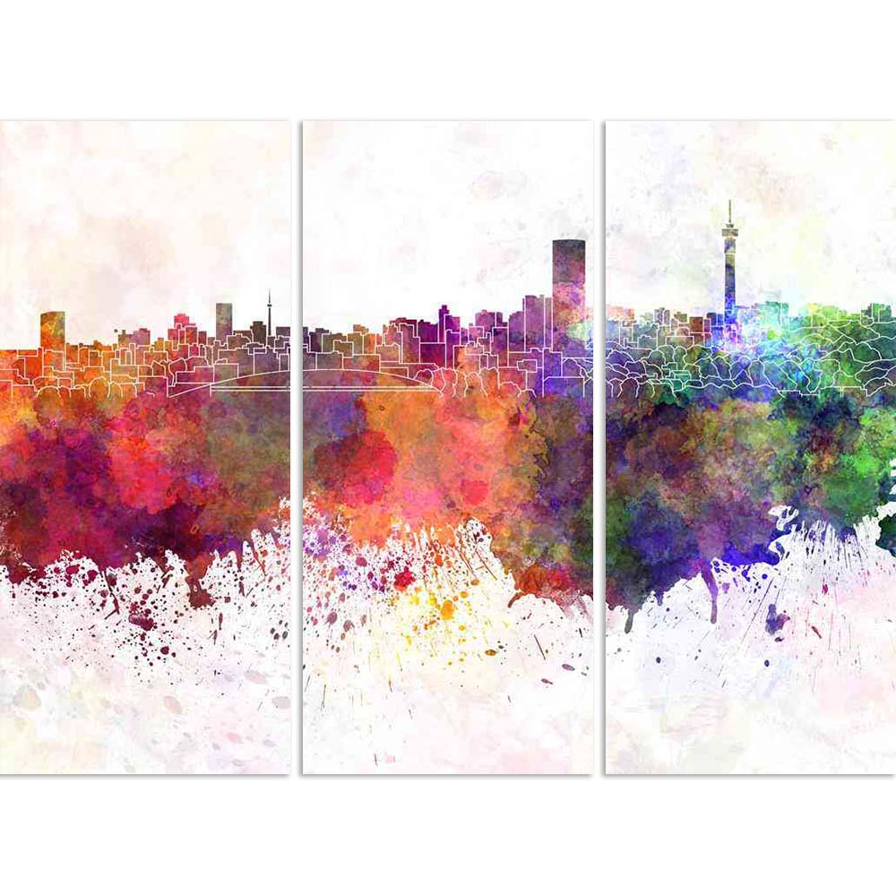 ArtzFolio Johannesburg, South Africa, Skyline in Watercolor Split Art Painting Panel on Sunboard-Split Art Panels-AZ5006366SPL_FR_RF_R-0-Image Code 5006366 Vishnu Image Folio Pvt Ltd, IC 5006366, ArtzFolio, Split Art Panels, Places, Fine Art Reprint, johannesburg, south, africa, skyline, in, watercolor, split, art, painting, panel, on, sunboard, framed, canvas, print, wall, for, living, room, with, frame, poster, pitaara, box, large, size, drawing, big, office, reception, photography, of, kids, designer, de