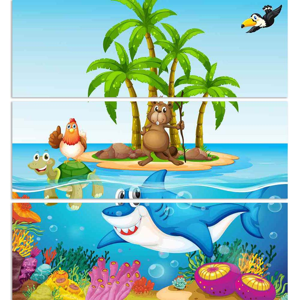 ArtzFolio Lives In The Ocean Split Art Painting Panel on Sunboard-Split Art Panels-AZ5006387SPL_FR_RF_R-0-Image Code 5006387 Vishnu Image Folio Pvt Ltd, IC 5006387, ArtzFolio, Split Art Panels, Animals, Kids, Digital Art, lives, in, the, ocean, split, art, painting, panel, on, sunboard, framed, canvas, print, wall, for, living, room, with, frame, poster, pitaara, box, large, size, drawing, big, office, reception, photography, of, designer, decorative, amazonbasics, reprint, small, bedroom, scenery, illustra