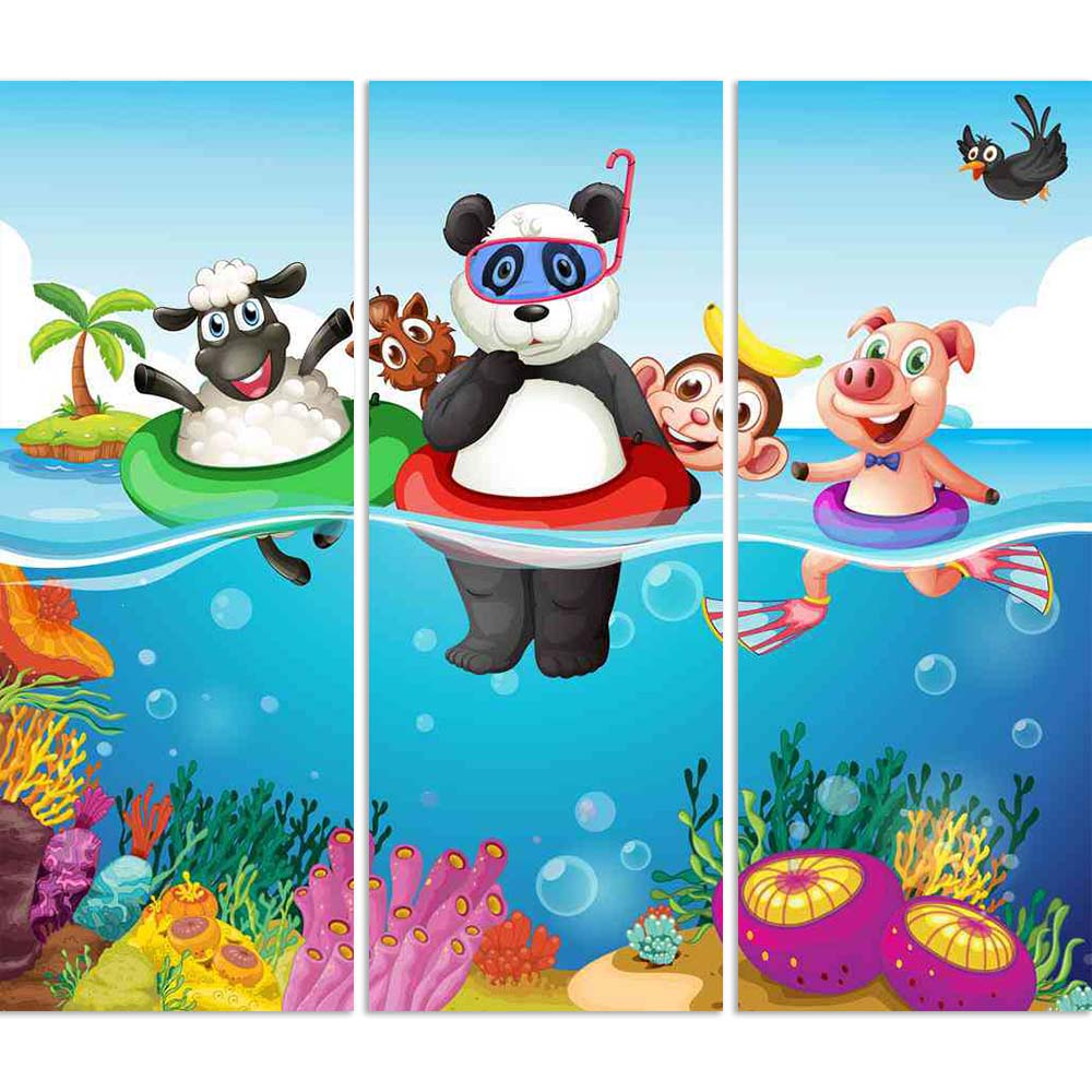 ArtzFolio Animals Swimming In The Ocean Split Art Painting Panel on Sunboard-Split Art Panels-AZ5006400SPL_FR_RF_R-0-Image Code 5006400 Vishnu Image Folio Pvt Ltd, IC 5006400, ArtzFolio, Split Art Panels, Animals, Kids, Digital Art, swimming, in, the, ocean, split, art, painting, panel, on, sunboard, framed, canvas, print, wall, for, living, room, with, frame, poster, pitaara, box, large, size, drawing, big, office, reception, photography, of, designer, decorative, amazonbasics, reprint, small, bedroom, sce