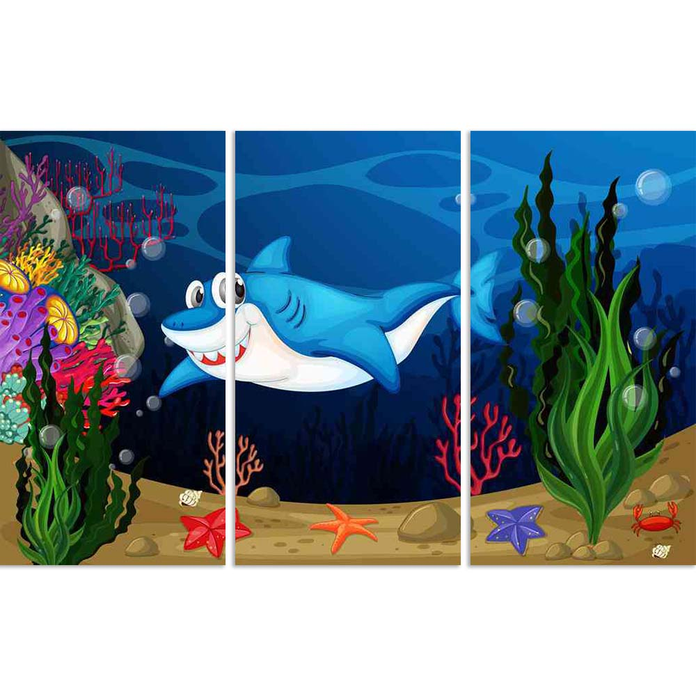 ArtzFolio Shark Swimming In The Sea Split Art Painting Panel on Sunboard-Split Art Panels-AZ5006427SPL_FR_RF_R-0-Image Code 5006427 Vishnu Image Folio Pvt Ltd, IC 5006427, ArtzFolio, Split Art Panels, Animals, Kids, Digital Art, shark, swimming, in, the, sea, split, art, painting, panel, on, sunboard, framed, canvas, print, wall, for, living, room, with, frame, poster, pitaara, box, large, size, drawing, big, office, reception, photography, of, designer, decorative, amazonbasics, reprint, small, bedroom, sc