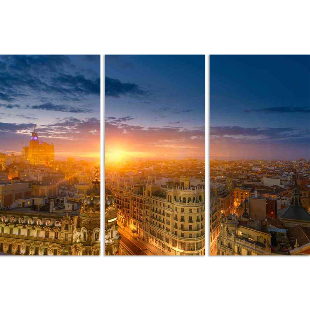 ArtzFolio Dusk View of Madrid, Capital City of Spain Split Art Painting Panel on Sunboard-Split Art Panels-AZ5006438SPL_FR_RF_R-0-Image Code 5006438 Vishnu Image Folio Pvt Ltd, IC 5006438, ArtzFolio, Split Art Panels, Landscapes, Places, Photography, dusk, view, of, madrid, capital, city, spain, split, art, painting, panel, on, sunboard, framed, canvas, print, wall, for, living, room, with, frame, poster, pitaara, box, large, size, drawing, big, office, reception, kids, designer, decorative, amazonbasics, r