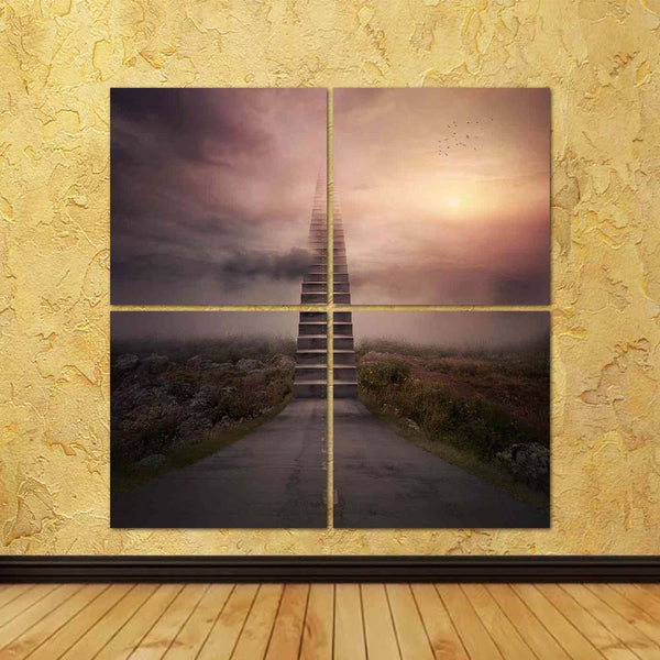 ArtzFolio A Road Turns Into A Staircase Up To The Clouds Split Art Painting Panel on Sunboard-Split Art Panels-AZ5006533SPL_FR_RF_R-0-Image Code 5006533 Vishnu Image Folio Pvt Ltd, IC 5006533, ArtzFolio, Split Art Panels, Conceptual, Digital Art, a, road, turns, into, staircase, up, to, the, clouds, split, art, painting, panel, on, sunboard, framed, canvas, print, wall, for, living, room, with, frame, poster, pitaara, box, large, size, drawing, big, office, reception, photography, of, kids, designer, decora