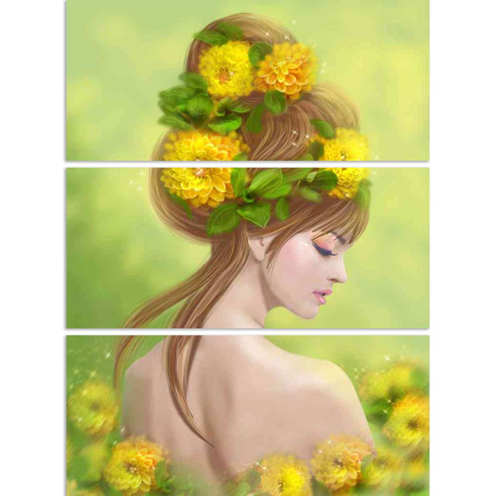 ArtzFolio Fantasy Spring Beauty Woman In Yellow Flowers Split Art Painting Panel on Sunboard-Split Art Panels-AZ5006575SPL_FR_RF_R-0-Image Code 5006575 Vishnu Image Folio Pvt Ltd, IC 5006575, ArtzFolio, Split Art Panels, Fantasy, Floral, Portraits, Digital Art, spring, beauty, woman, in, yellow, flowers, split, art, painting, panel, on, sunboard, framed, canvas, print, wall, for, living, room, with, frame, poster, pitaara, box, large, size, drawing, big, office, reception, photography, of, kids, designer, d